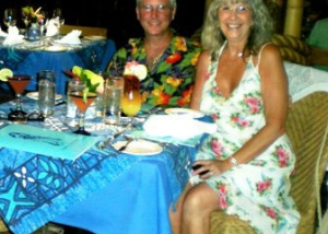 The owners dining at Mama's Fish House in Paia